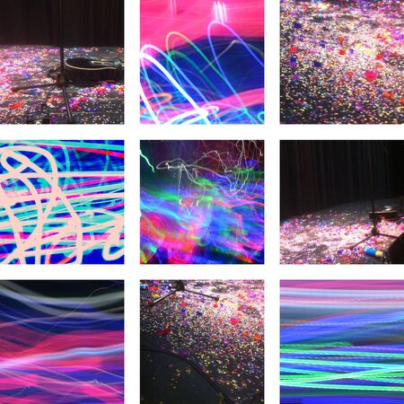 Nine pictures with confetti, light and music Standard-Bild
