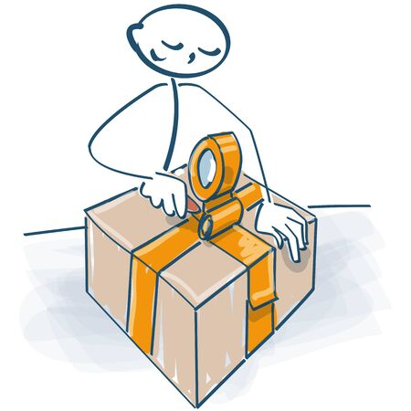 Stick figure packs a big parcel with a parcel tape