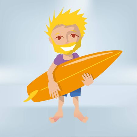 Little boy as a surfer with a surfboard