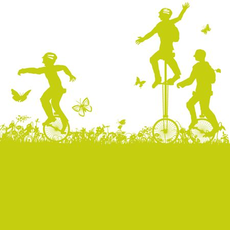 With the unicycle into the nature Illustration