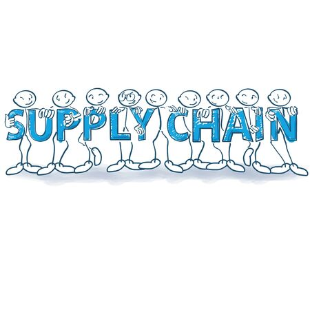 Stick figures standing together in a long supply chain Illustration