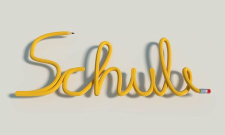 Bent yellow pencil building the word school