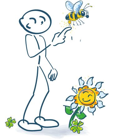 Stick figure with a bee on the finger