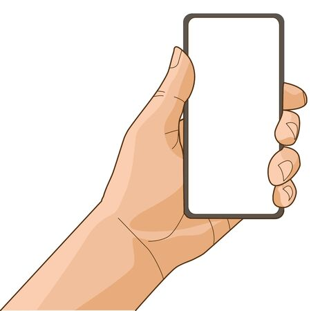 Hand is holding a new smartphone 스톡 콘텐츠 - 128874008