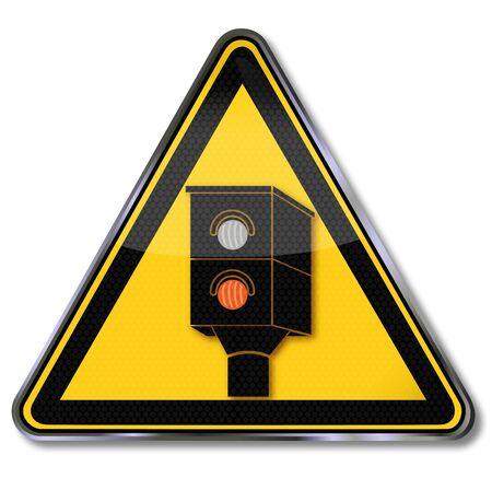 Shield with a traffic radar and lightning on this road Ilustração