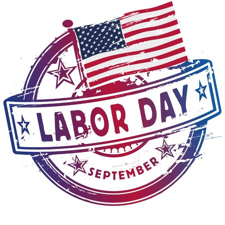 Rubber stamp with the Labor Day in September in the USA