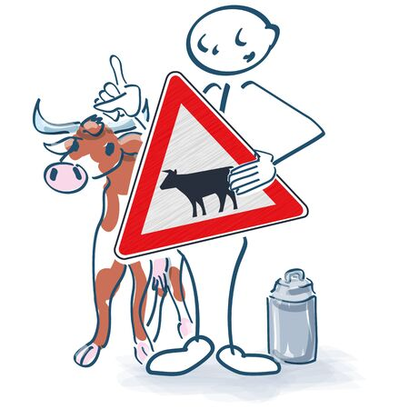 Stick figure with cow, sign and milk can