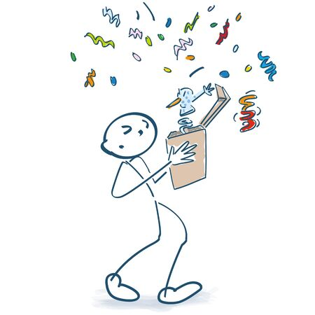 Stick figure opens a box and has a big surprise with confetti