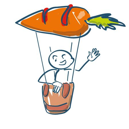 Stick figure sits in a hot air balloon in the shape of an orange carrot
