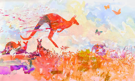 Watercolor with kangaroos in Australia 写真素材