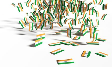 Many notes and flags from India are falling down