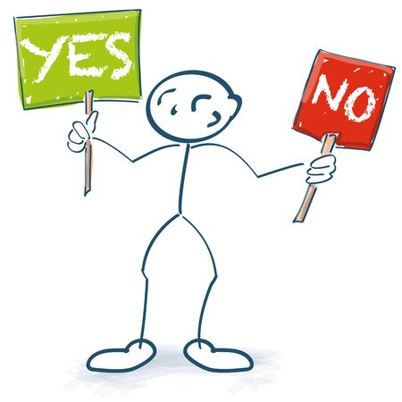 Stick figures with the two signs yes and no Illustration