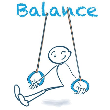 Stick figure in the rings and balance for sports