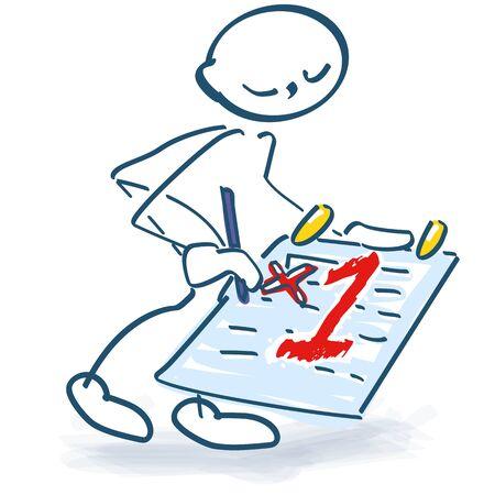 Strichmännchen verabredet sich mit dem ersten Date im Tagebuch Vektorgrafik