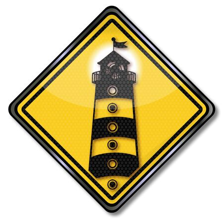Shield with a lighthouse