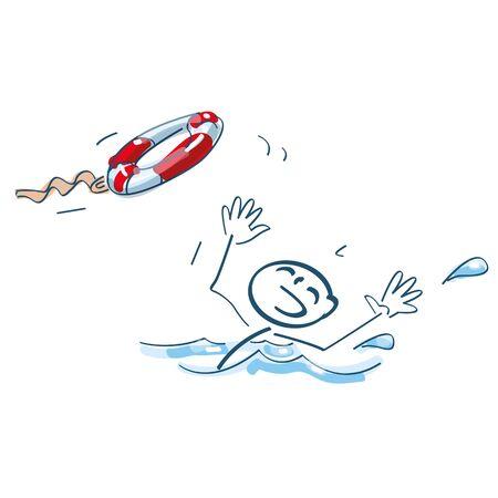 Strichmännchen wird mit einem Schwimmreifen geworfen und droht zu ertrinken Vektorgrafik
