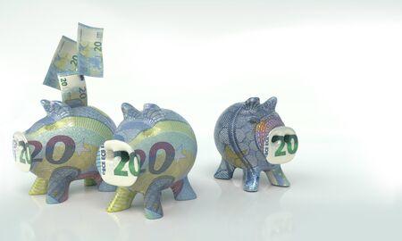 Three little piggy banks with twenty euros