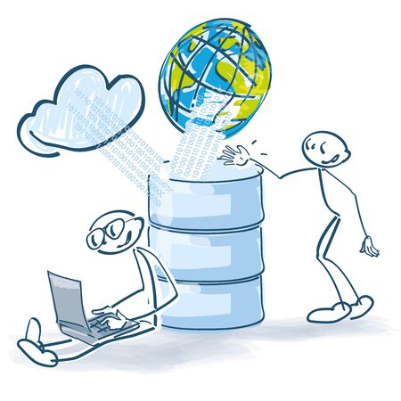 Stick figures on the computer and database as hardware and cloud