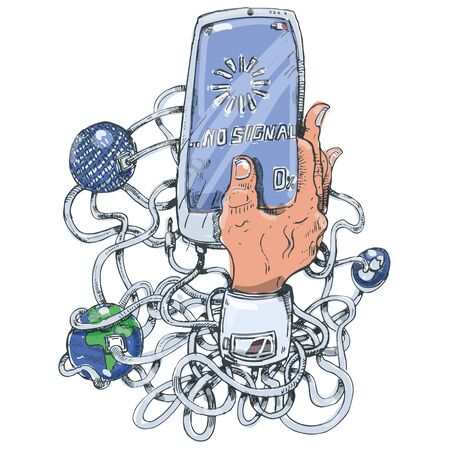Mobile phone, network, world, reception and no signal