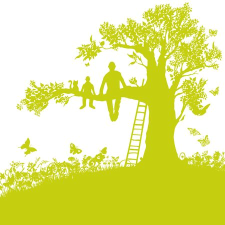 Father, son and a cat sitting on a branch and looking at the landscape Illustration