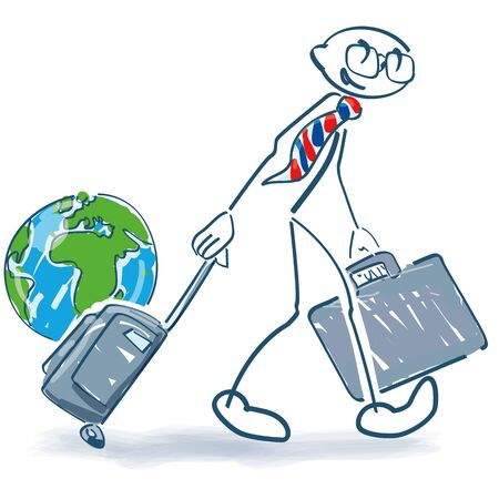 Stick figure with a trolley traveling around the world 일러스트