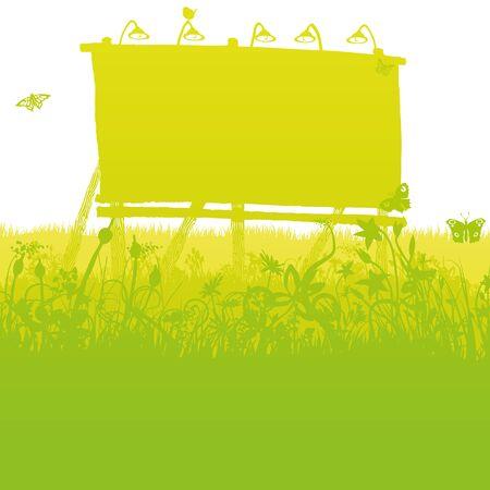 Old unused billboard in the deep dense grass Illustration