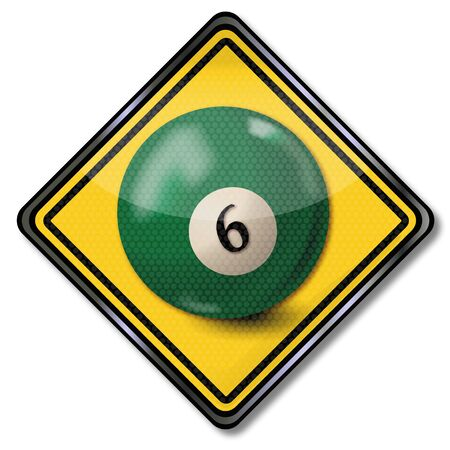 Sign with dark green pool billiard ball number six