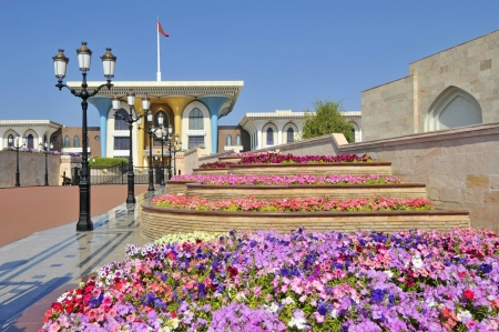 muscat: Muscat Oman the Al Alam Sultans Palace and colourful flower beds Editorial