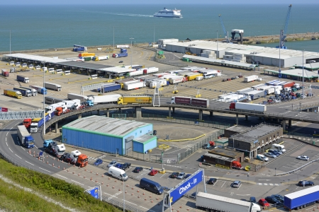 English Channel ferry port of Dover in Kent with lorry traffic UK