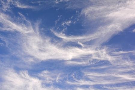 cirrus: Wispy white clouds and blue sky United Kingdom