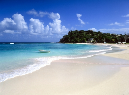 Clean sandy Caribbean beach and calm turquoise sea  photo