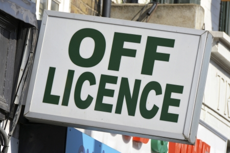 licence: Off Licence store sign United Kingdom