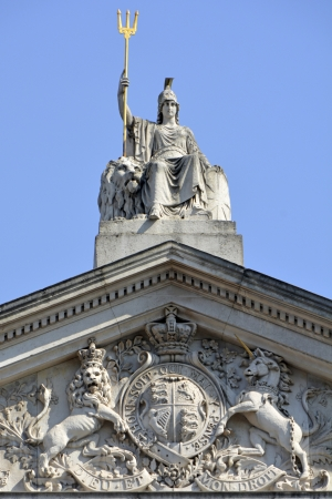 Britannia statue and Trident with Coat of arms below Stock Photo - 22063160