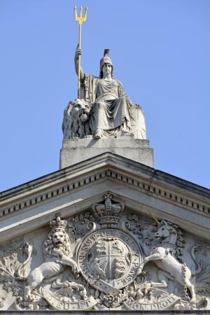 britannia: Britannia statue and Trident with Coat of arms below