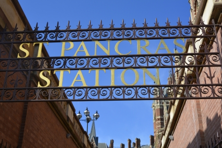 pancras: St Pancras railway station sign London