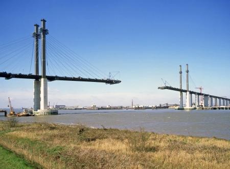 bridge: Bridge building concept photo for Teamwork, also Bridge That Gap, Linking Up, Meet Half Way  Stock Photo