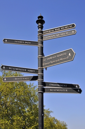 british weather: Westminster signpost for pedestrian tourists to help them locate places of interest