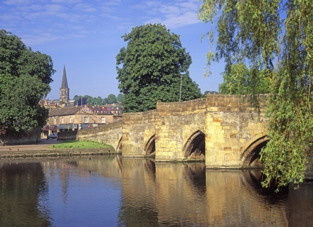 derbyshire: Bridge over the  River Wye at Bakewell Derbyshire in the Peak District National Park England  Stock Photo