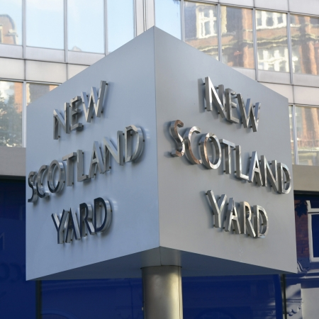 constabulary: New Scotland Yard sign outside the headquarters of the Metropolitan Police in London