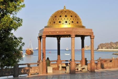muttrah: Muscat Oman, Muttrah Corniche promenade and views to the Gulf of Oman Stock Photo