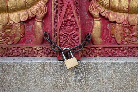 locked: Locked wooden door Stock Photo