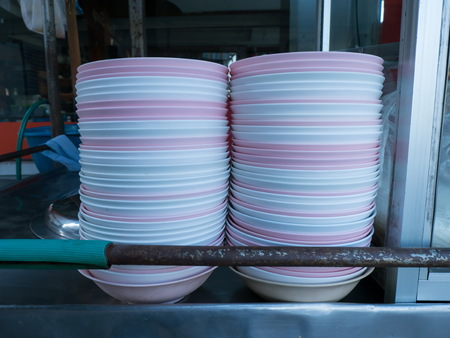 hawker: Stack of bowls from street hawker stall