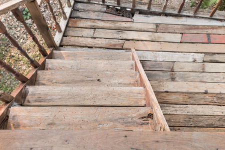 stair: Old wooden stair top view