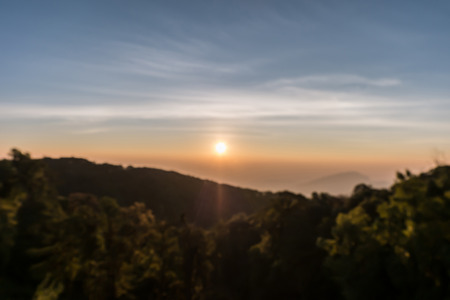 soft peak: Defocused mountain sunrise at viewpoint of Kio Mae Pan, Chiang Mai, Thailand