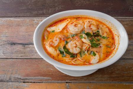 yum: Spaghetti Tom Yum Goong from Thailand Stock Photo