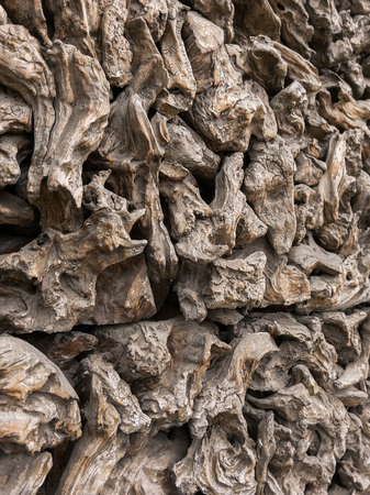 wall decor: Piece of old wood decor wall. Close up Stock Photo