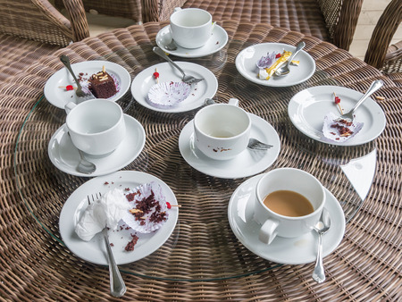 Table after eating Dessert Coffee Tea, Break at meeting