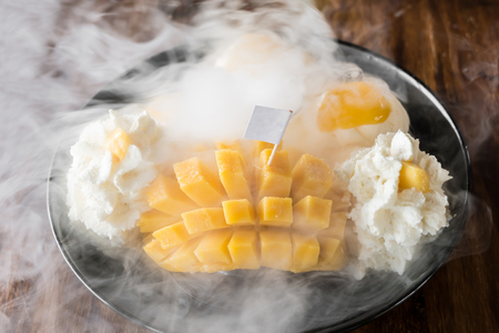 Thai style mango Ice Cream Set and dry ice Imagens