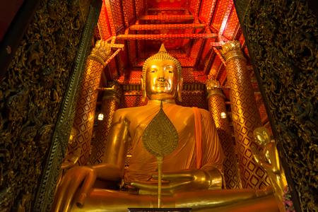 Big Buddha statue in temple at Wat Panan Choeng temple, Ayutthaya, Thailand. Editorial