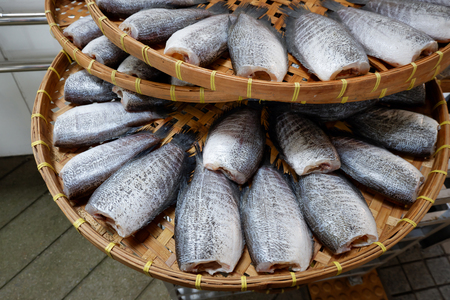 fish tail: Snakeskin gourami Fish dried in market